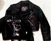 Ladies hand silver stencilled vintage leather jacket front&back