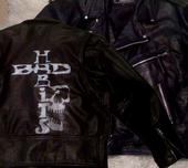 mens leather jacket with hand painted silver stencil