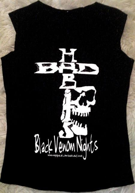 Bad Habits-Black Venom Nights Ladies 100% Organic Stretch Cotton Unfinished Hem Tank/Vest